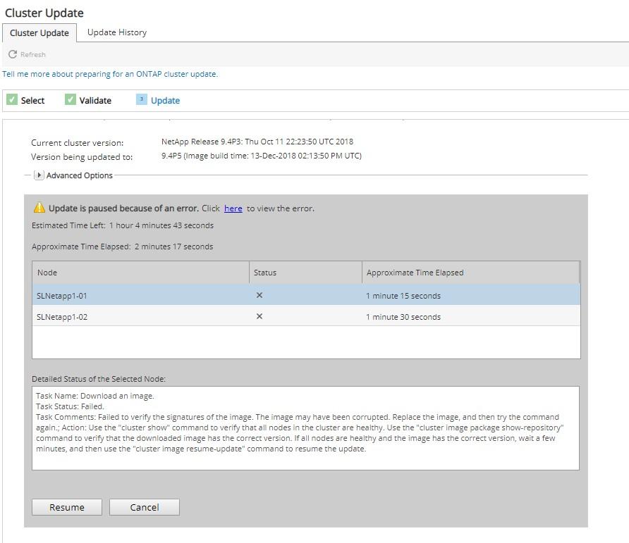 Failed Ontap cluster update - NetApp Community