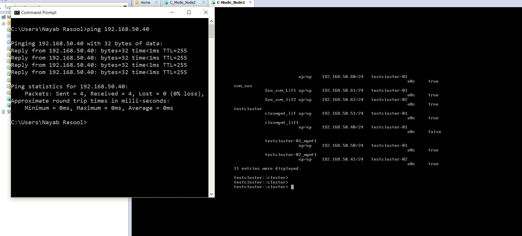 Unable to ping node and cluster management IP from host ... Vmware Ping Vm From Host