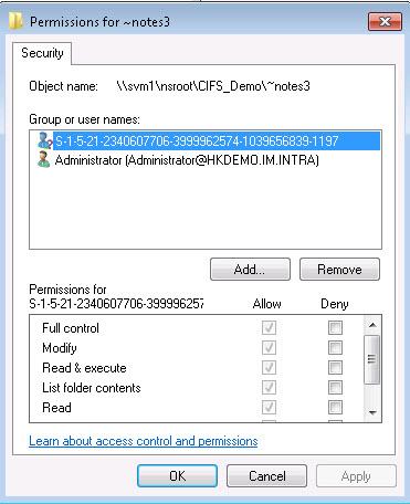 Solved: CIFS SID lookup - NetApp Community