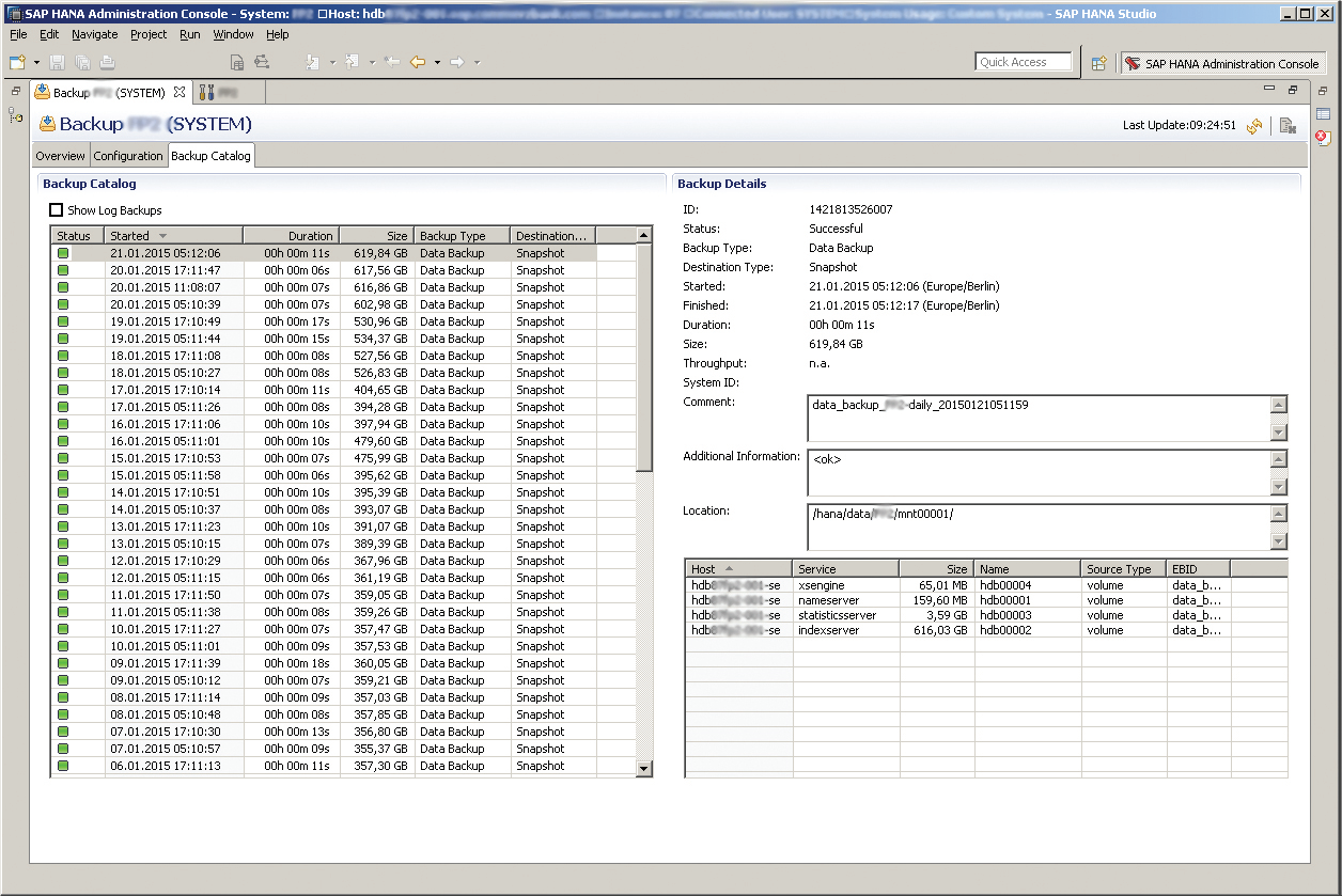 Figure 1) SAP HANA Studio backup window with NetApp backup completed in 11 seconds