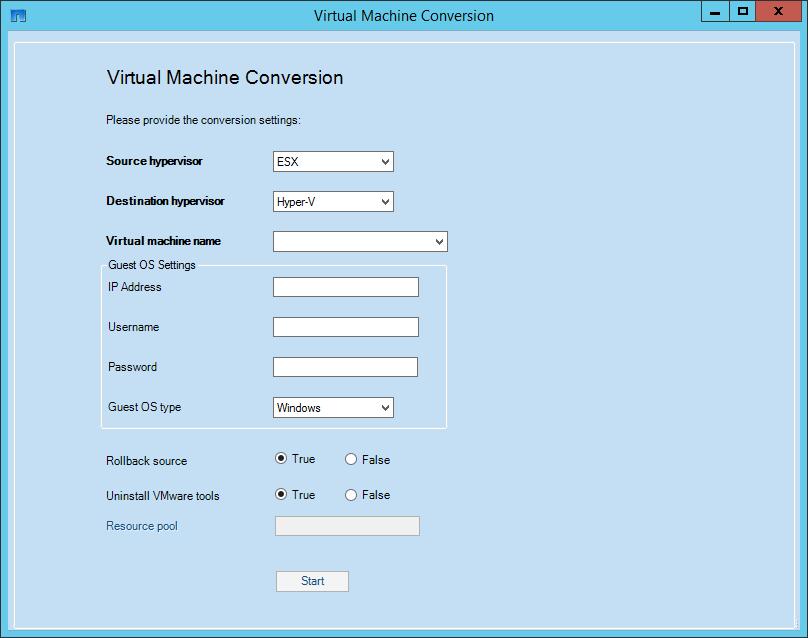 Figure 1) Virtual machine conversion UI