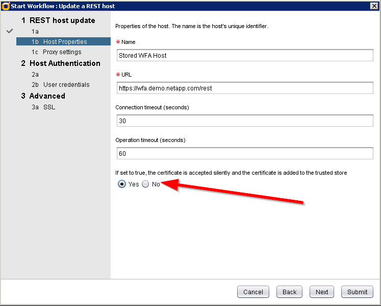 vRealize Orchestrator - Unable to get workflow parameters - NetApp