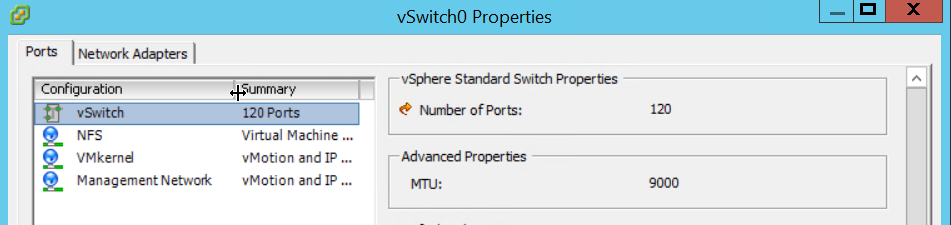 vSwitch0 Properties